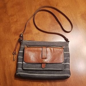 Fossil striped canvas leather crossbody bag